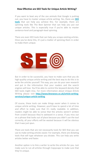 How Effective are SEO Tools for Unique Article Writing?