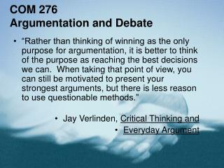 COM 276 Argumentation and Debate