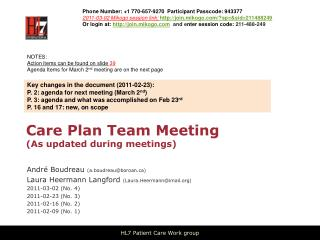 Care Plan Team Meeting As updated during meetings