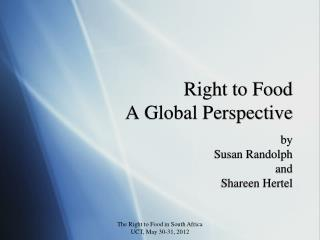 Right to Food A Global Perspective