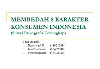 MEMBEDAH 8 KARAKTER KONSUMEN INDONESIA Survei Psikografis Terlengkap