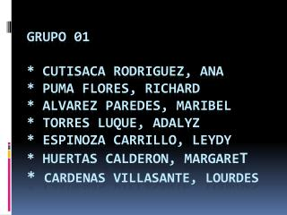 GRUPO 01    CUTISACA RODRIGUEZ, ANA   PUMA FLORES, RICHARD  ALVAREZ PAREDES, MARIBEL  TORRES LUQUE, ADALYZ  ESPINOZA CAR