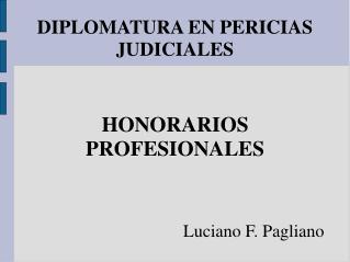 DIPLOMATURA EN PERICIAS  JUDICIALES    HONORARIOS  PROFESIONALES    Luciano F. Pagliano