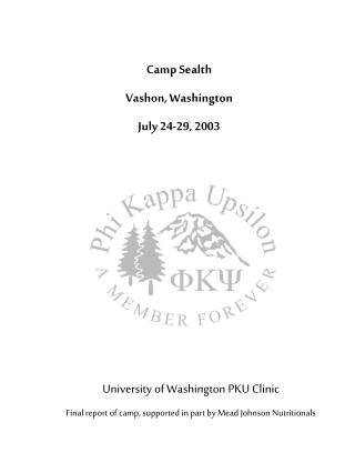 University of Washington PKU Clinic Final report of camp, supported in part by Mead Johnson Nutritionals
