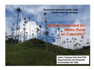 Multifuncionalidad del Medio Rural  en Colombia