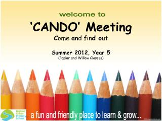 CANDO  Meeting Come and find out  Summer 2012, Year 5  Poplar and Willow Classes