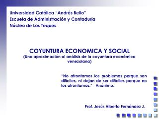 COYUNTURA ECONOMICA Y SOCIAL Una aproximaci n al an lisis de la coyuntura econ mica venezolana