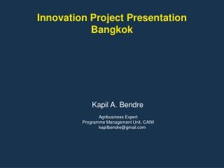 Innovation Project Presentation Bangkok