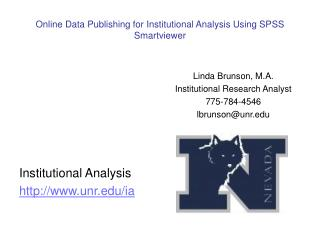 Online Data Publishing for Institutional Analysis Using SPSS Smartviewer