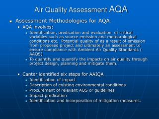 Air Quality Assessment AQA