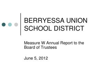 BERRYESSA UNION SCHOOL DISTRICT
