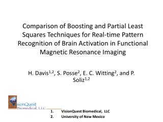 Comparison of Boosting and Partial Least Squares Techniques for Real-time Pattern Recognition of Brain Activation in Fun