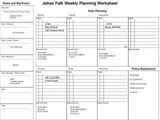 Johan Falk Weekly Planning Worksheet