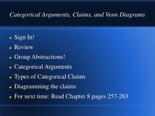 Categorical Arguments, Claims, and Venn Diagrams