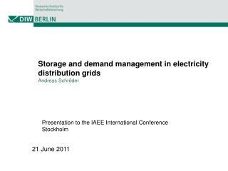 Storage and demand management in electricity distribution grids Andreas Schr der