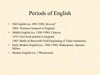 Periods of English