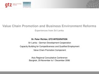 Value Chain Promotion and Business Environment Reforms Experiences from Sri Lanka