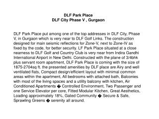 Apartment in DLF Park Place Gurgaon