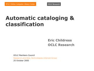Automatic cataloging  classification