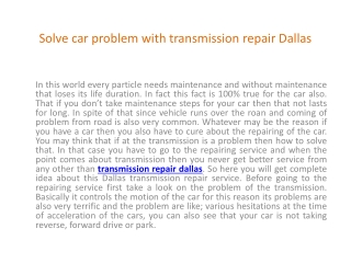 Transmission repair dallas