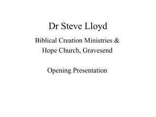 Dr Steve Lloyd