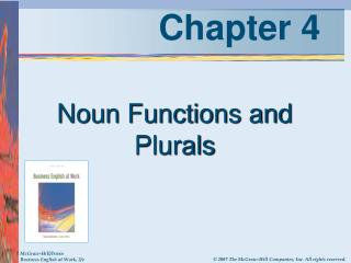 Noun Functions and Plurals
