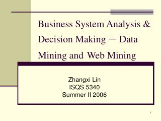 Business System Analysis  Decision Making   Data Mining and Web Mining