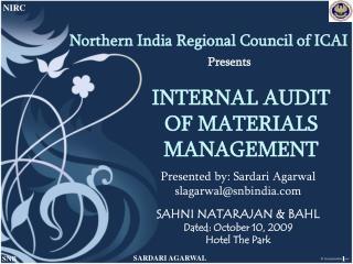 INTERNAL AUDIT OF MATERIALS MANAGEMENT