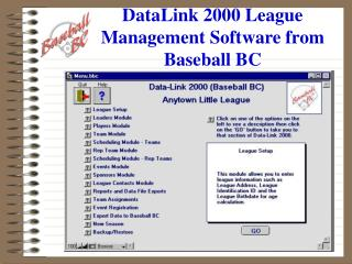 DataLink 2000 League Management Software from