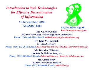 Introduction to Web Technologies  for Effective Dissemination  of Information  13 November 2000 SIGAda 2000