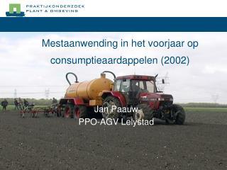 Mestaanwending in het voorjaar op consumptieaardappelen 2002