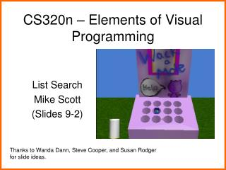 CS320n   Elements of Visual Programming