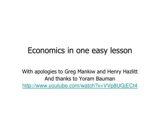 Economics in one easy lesson