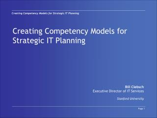 Creating Competency Models for Strategic IT Planning