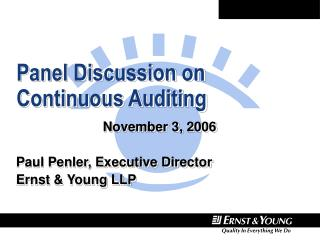 Panel Discussion on Continuous Auditing