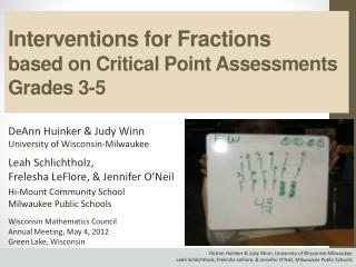 Interventions for Fractions  based on Critical Point Assessments Grades 3-5