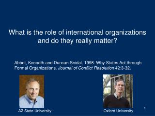 What is the role of international organizations and do they really matter