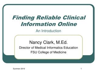 Finding Reliable Clinical Information Online