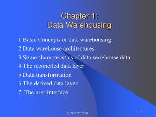 Chapter 1: Data Warehousing