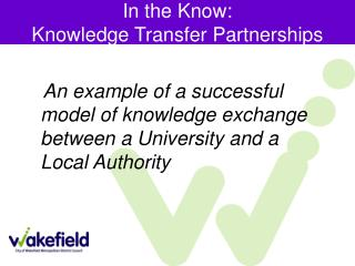 An example of a successful model of knowledge exchange between a University and a Local Authority