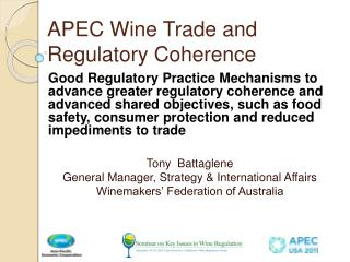 APEC Wine Trade and Regulatory Coherence