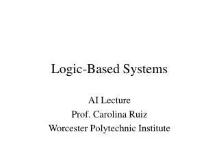 Logic-Based Systems