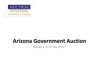Arizona Government Auction: What�s In It for You?