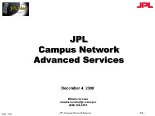 JPL Campus Network Advanced Services