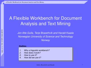 A Flexible Workbench for Document Analysis and Text Mining