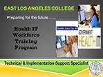 Health IT  Workforce Training Program