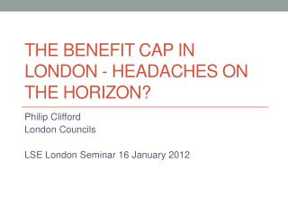The benefit cap in London - headaches on the horizon