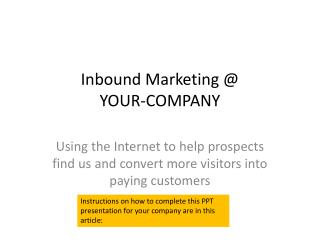 Inbound Marketing  YOUR-COMPANY
