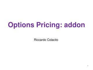 Options Pricing: addon