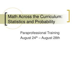 Math Across the Curriculum: Statistics and Probability